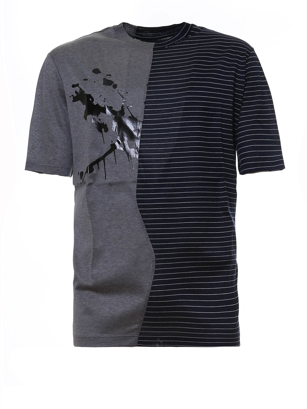 Lanvin - Stripes and ink stained T-shirt - t-shirts ... - photo#2