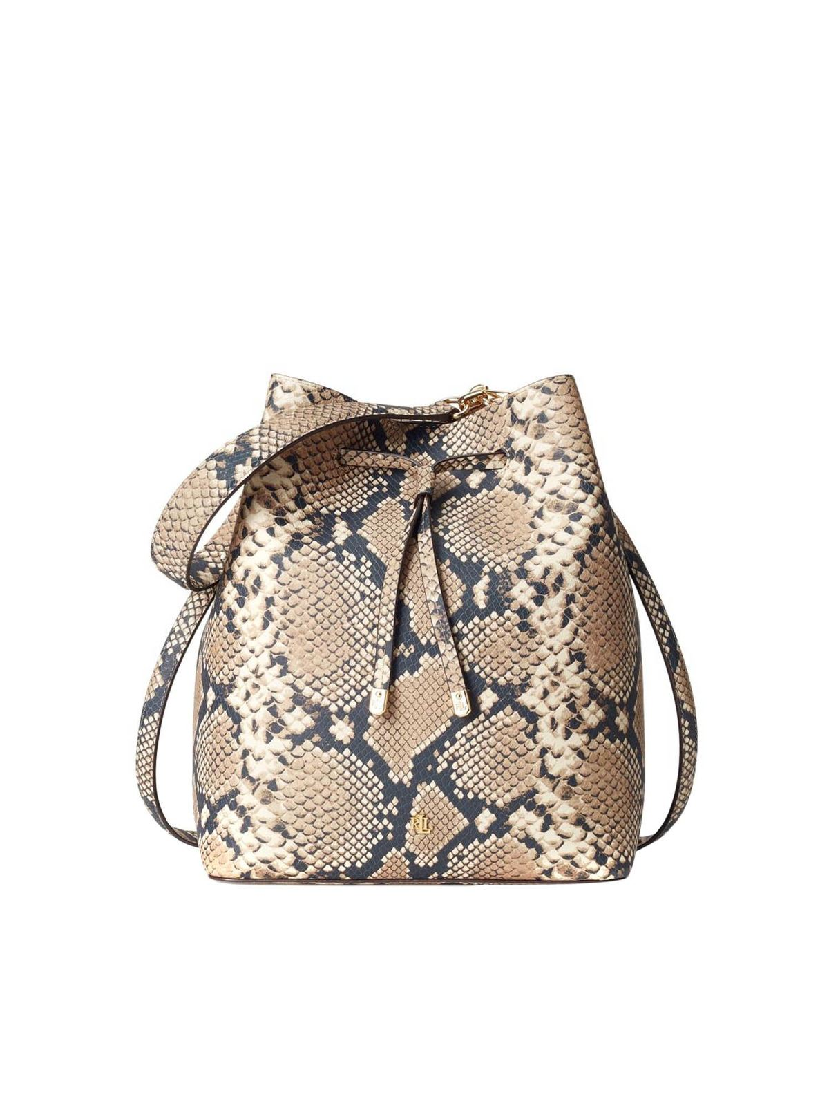 Lauren Ralph Lauren REPTILE PRINT BUCKET BAG IN BEIGE AND BLACK