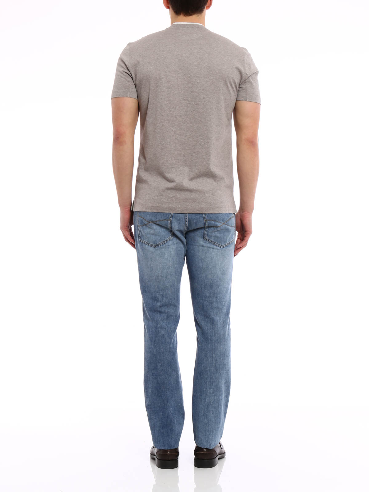 Layered v neck t shirt by brunello cucinelli t shirts for V neck t shirt online shopping