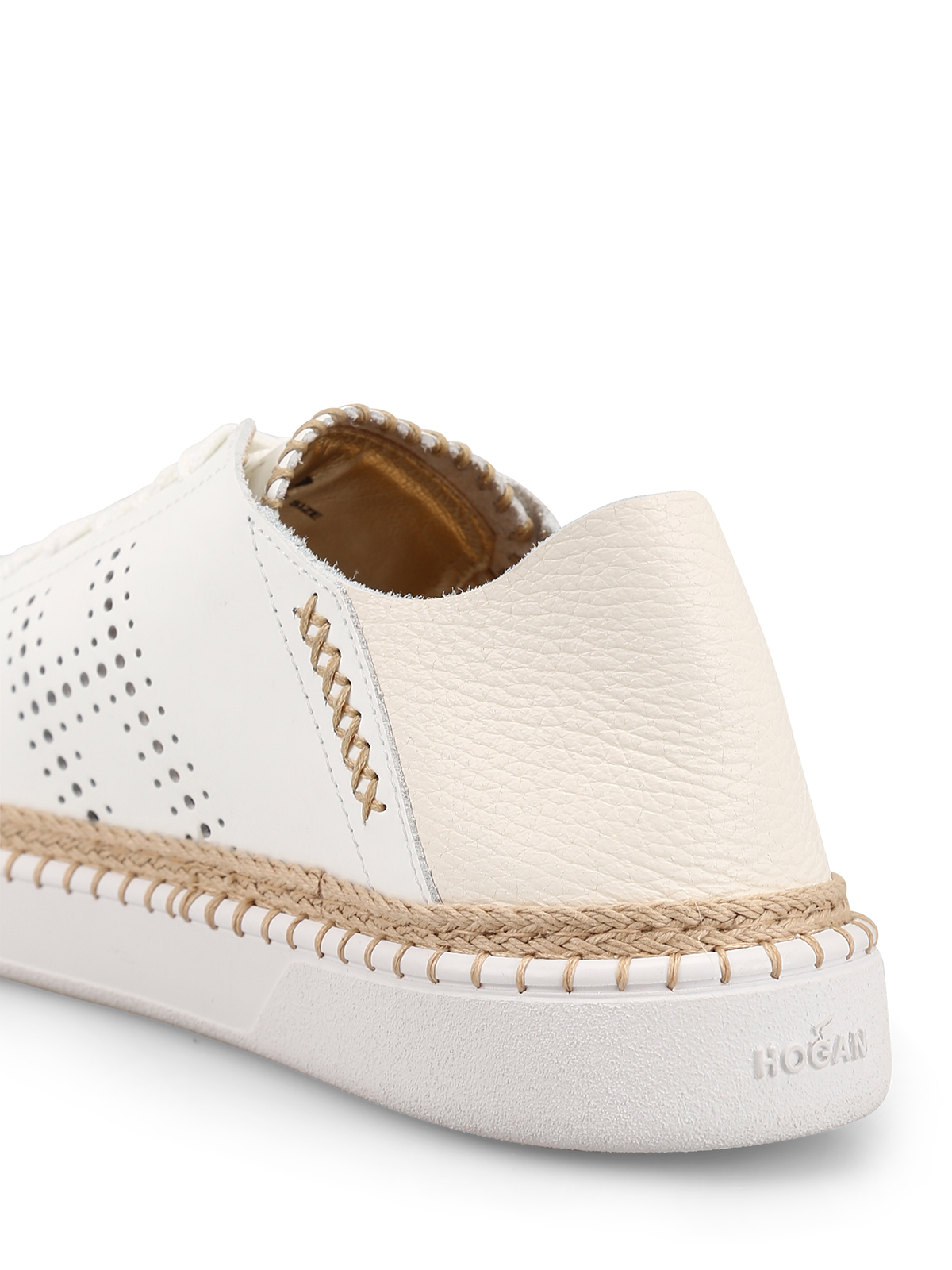 Trainers Hogan - Leather sneakers with espadrilles details ...