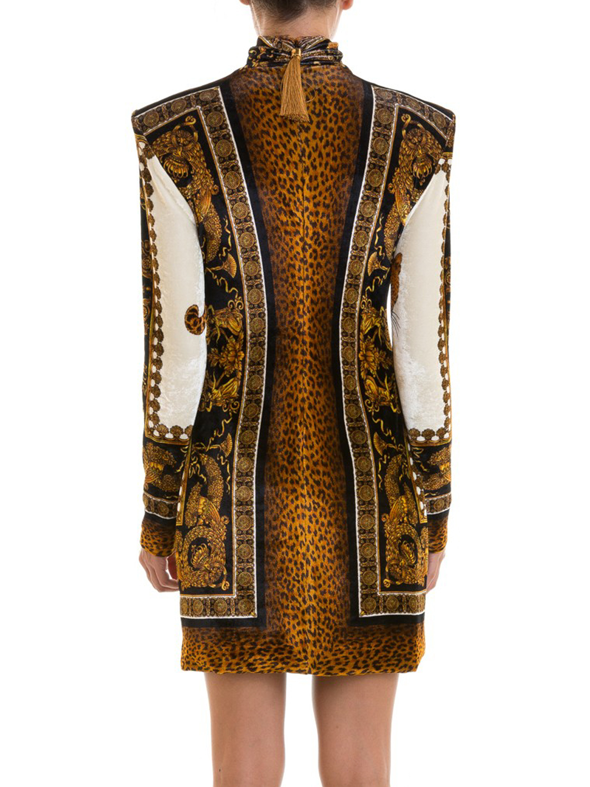 Versace - Leo print long sleeve velvet dress - short dresses ... d894bd07d