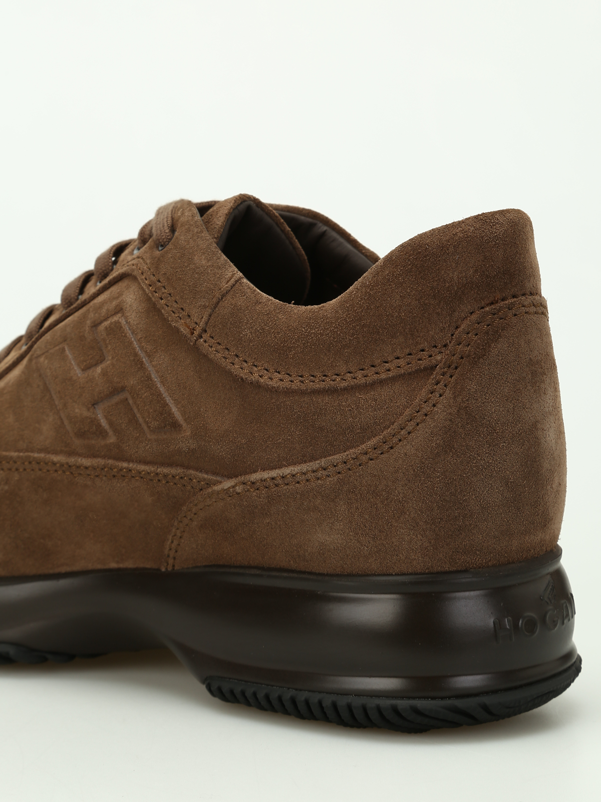 Sneakers Hogan - Interactive marrone chiaro in suede ...