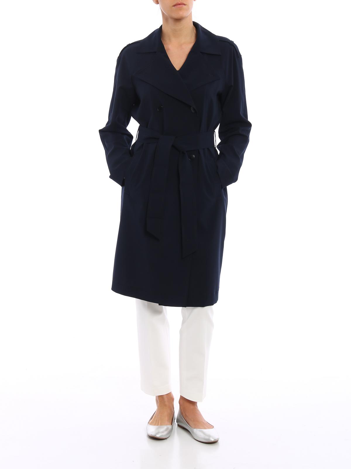 Trench Femme Coat Trenchs Foncé Armani Jeans Bleu Pour 7f6gyb