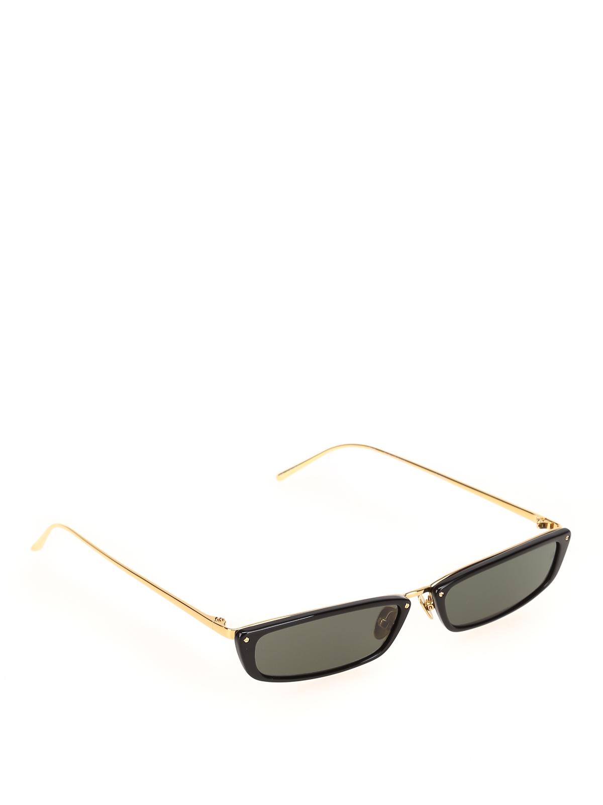 Linda Farrow Black Super Skinny Sunglasses