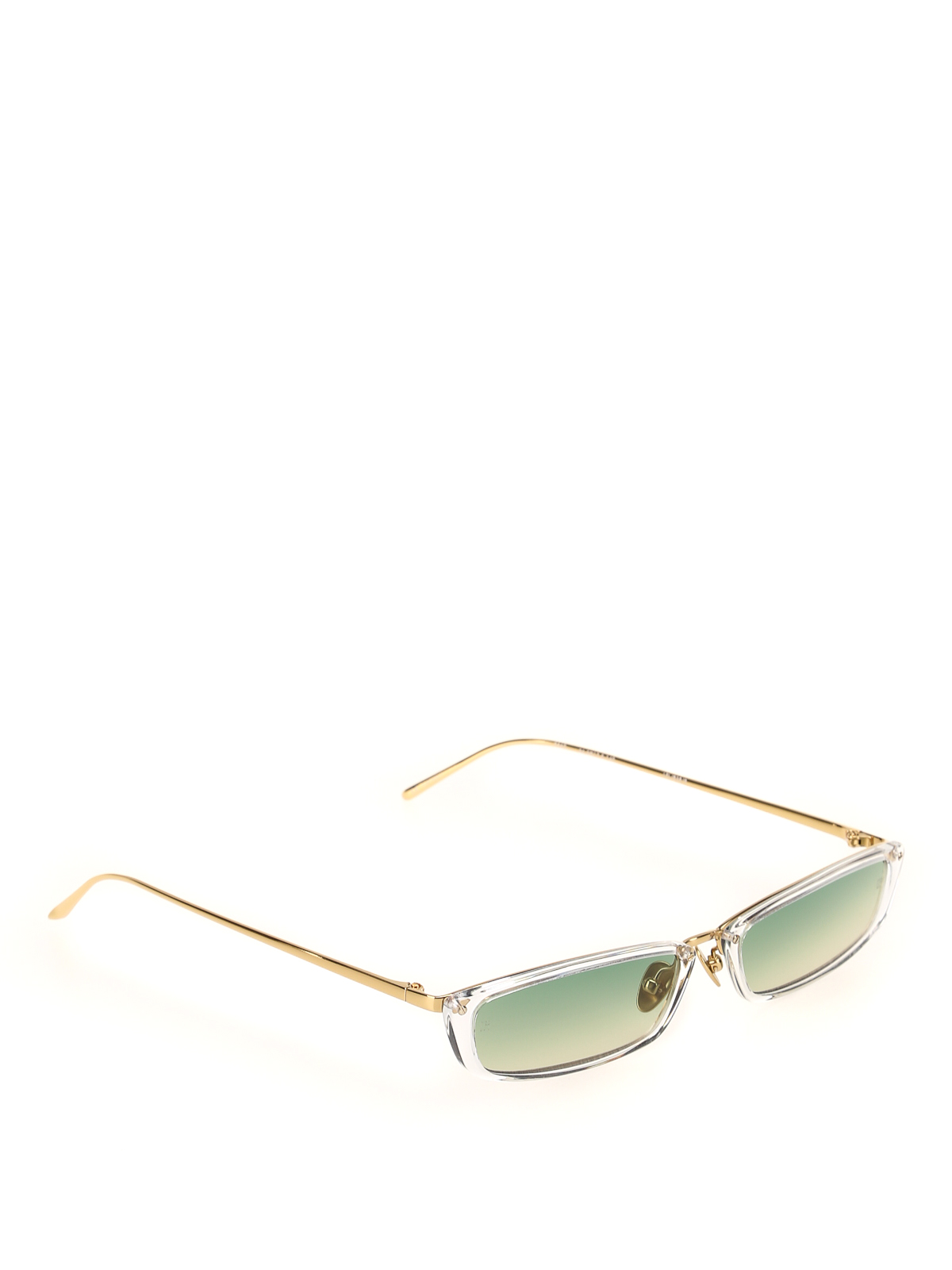 Linda Farrow Clear Acetate Super Skinny Sunglasses