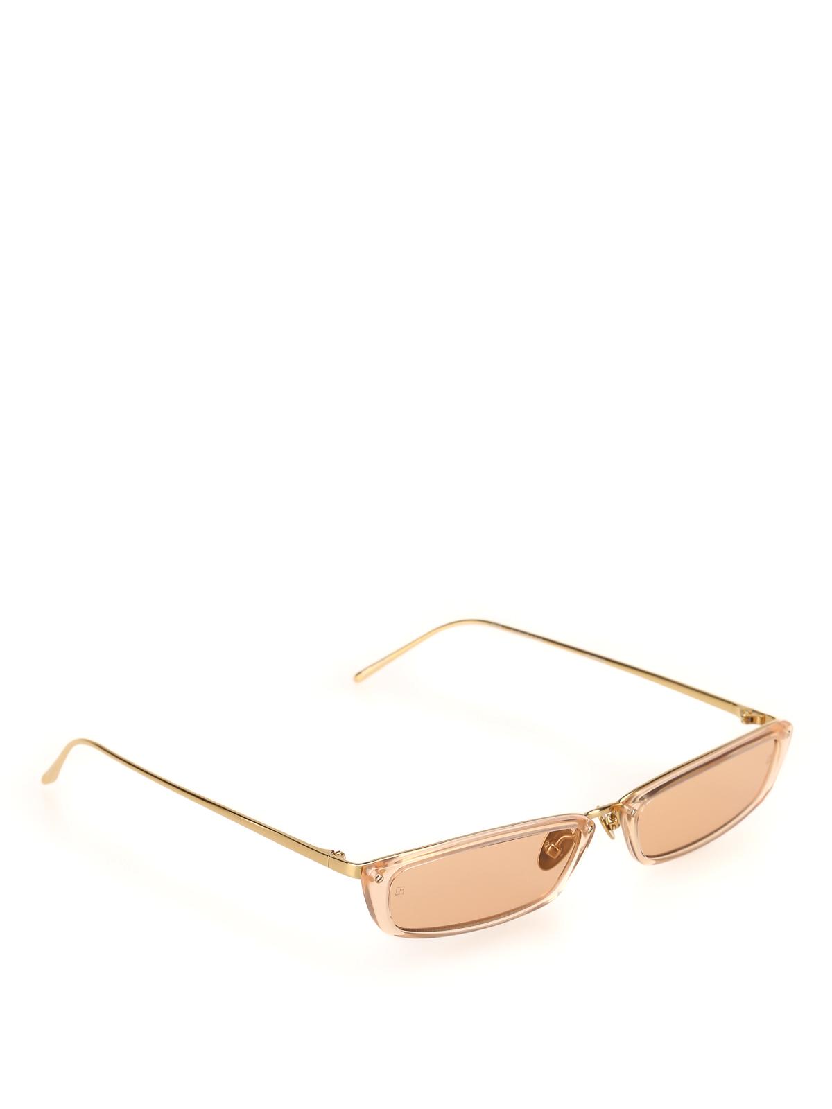 Linda Farrow Peach Super Skinny Sunglasses In Light Pink