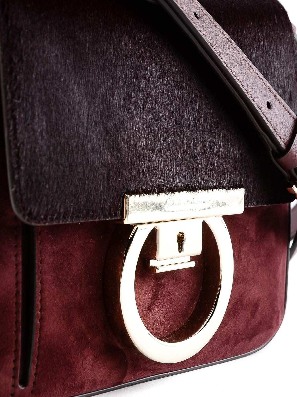 Lock suede and hair calf cross body bag shop online  SALVATORE FERRAGAMO 58b6a265b5337