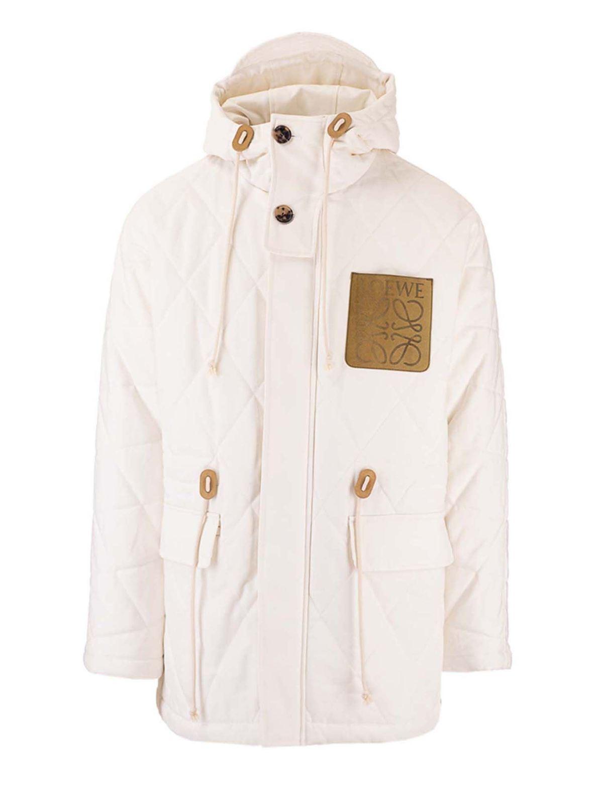 Loewe Jackets ANAGRAM LOGO PARKA IN WHITE