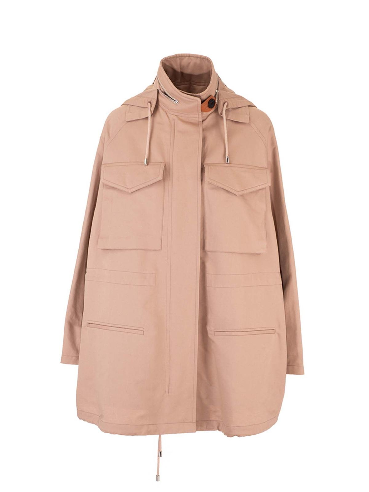 Loewe Jackets MILITARY HOODED PARKA IN BEIGE