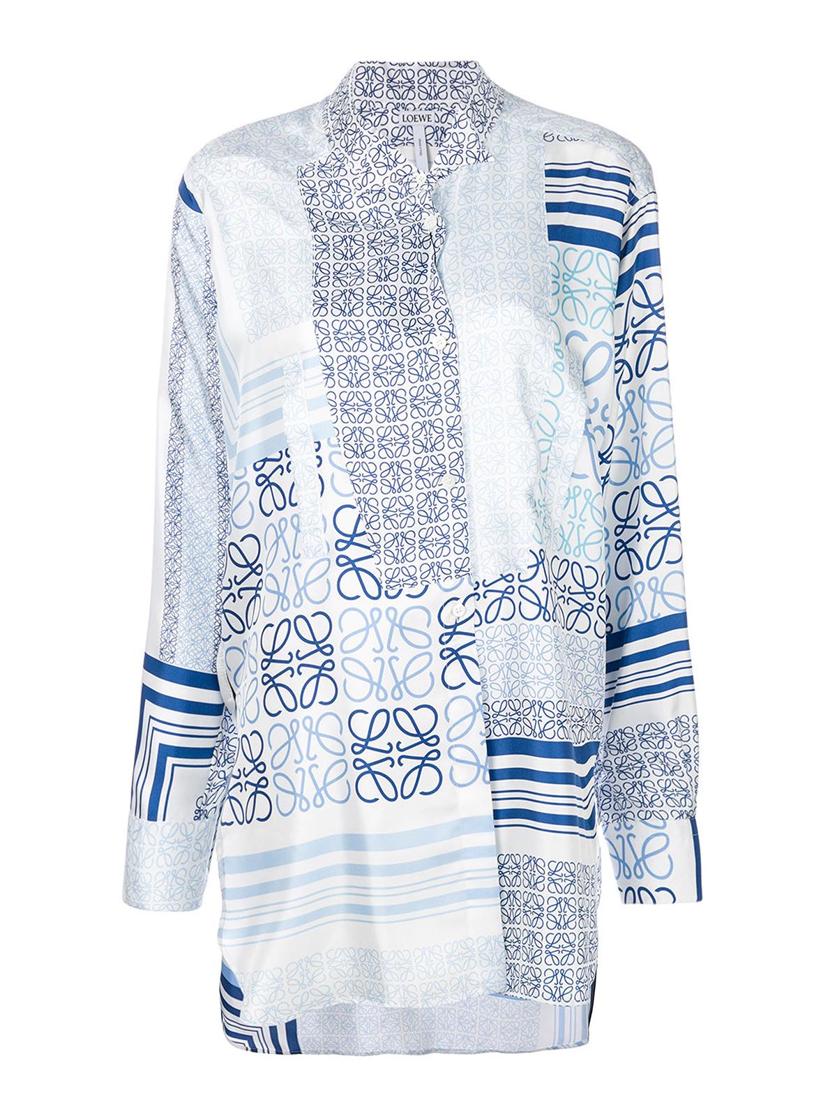 4f1239a570e Loewe - Asymmetric patchwork silk shirt - shirts - S2189183GA 5102