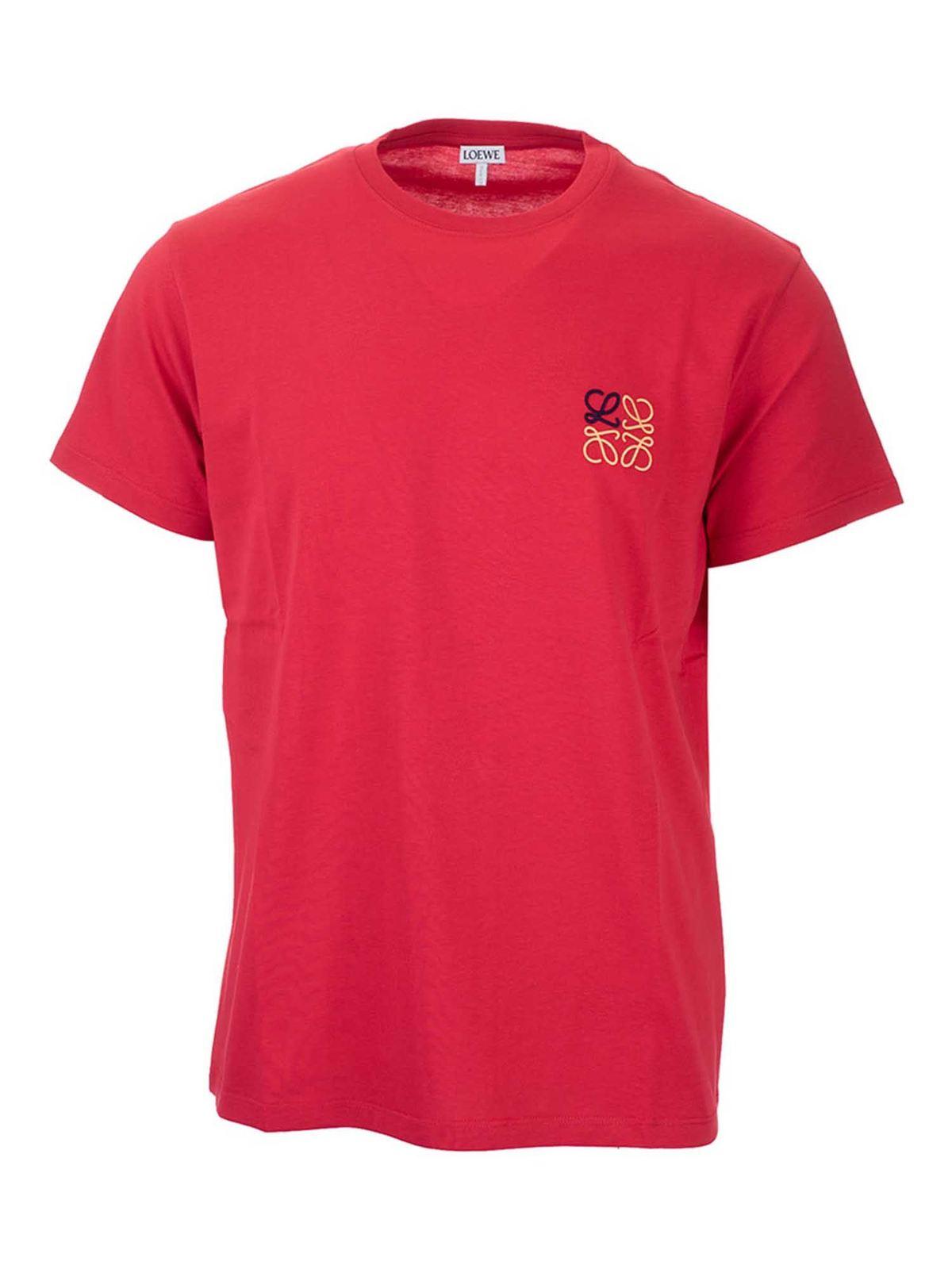 LOEWE ANAGRAM LOGO T-SHIRT IN RED
