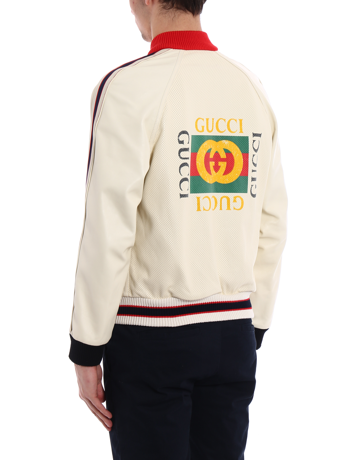 d0675a371 Gucci - Logo perforated leather bomber - چرم - 497399XG5239568 | iKRIX