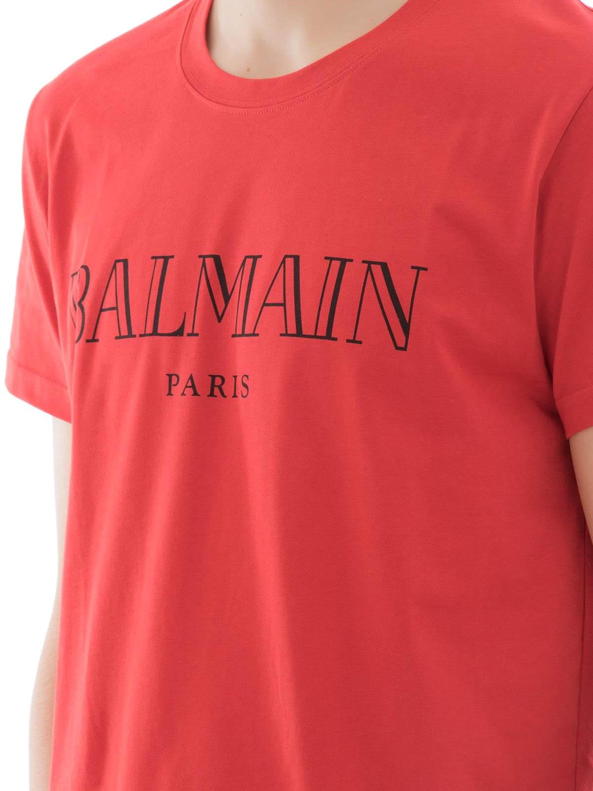 4ae31685d Balmain - Logo print red cotton T-shirt - t-shirts - S8H8601I157132