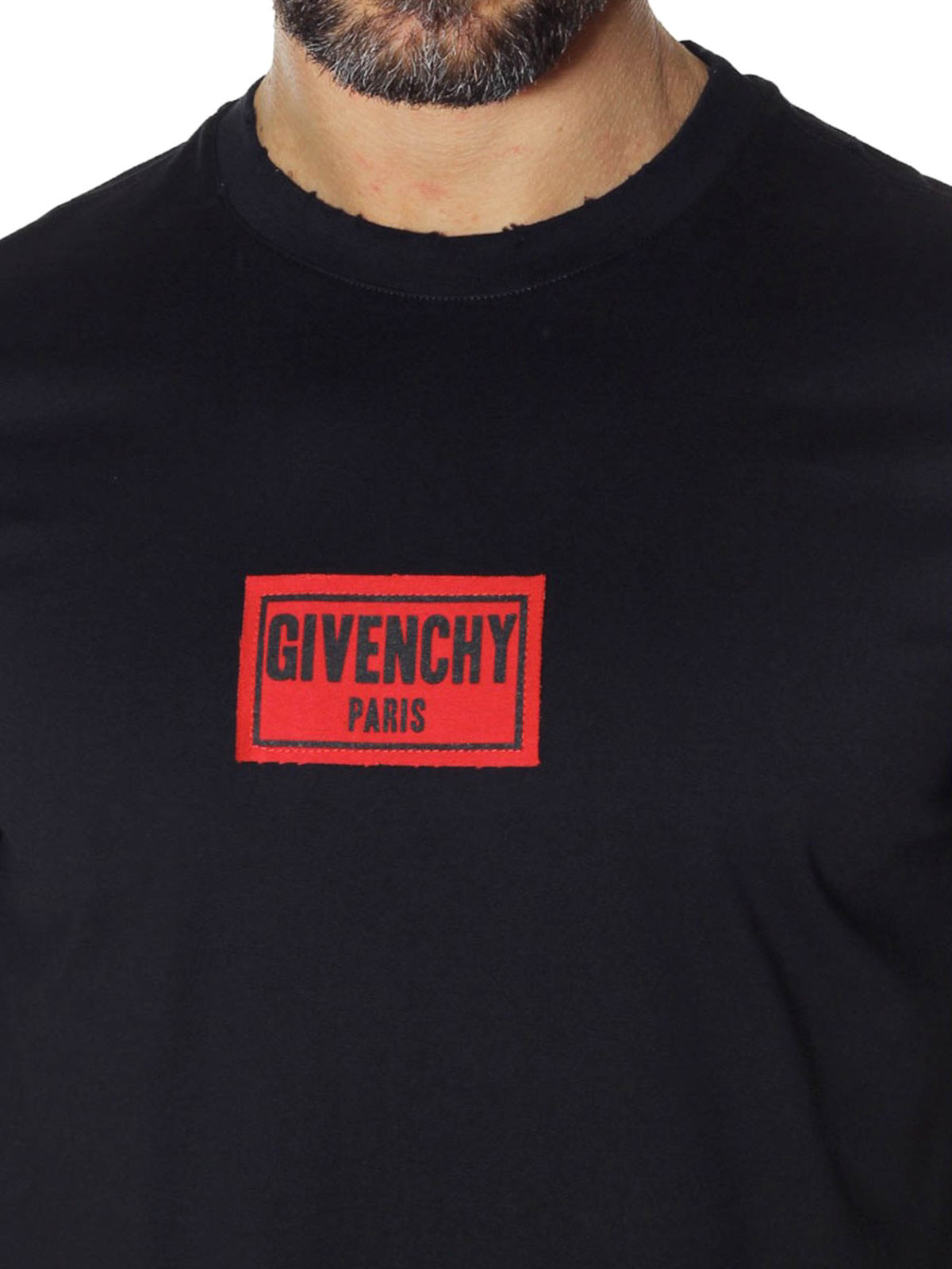 48c613a305778 Givenchy - Logo red patch black T-shirt - t-shirts - BM701W3Y03 001