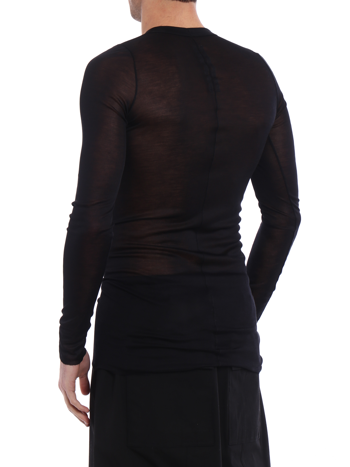 ef2de2b87fb1 Rick Owens - Long sleeve sheer silk T-shirt - t-shirts - RU18S5250RR09