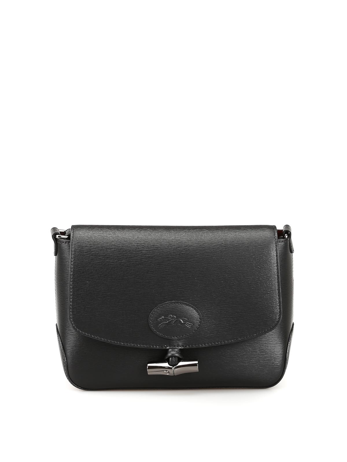 Longchamp - Roseau black leather cross body bag - cross body bags ...