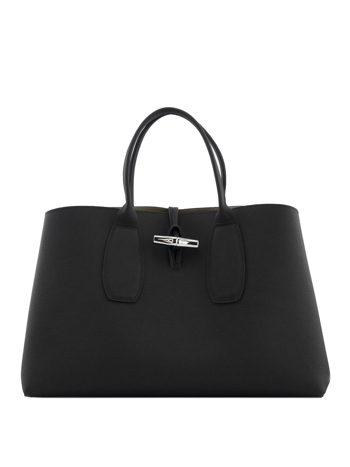 Longchamp ROSEAU L GRAINY LEATHER BAG
