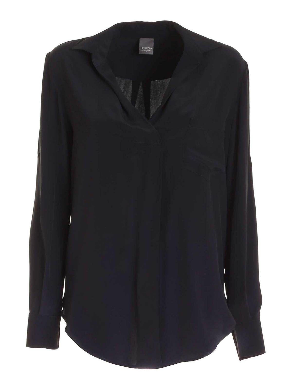 Lorena Antoniazzi PATCH POCKET BLOUSE IN BLUE