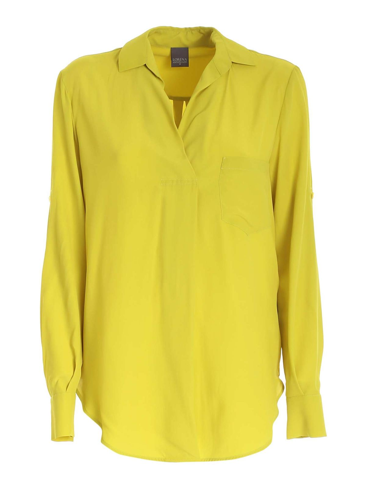 Lorena Antoniazzi PATCH POCKET BLOUSE IN LIME GREEN