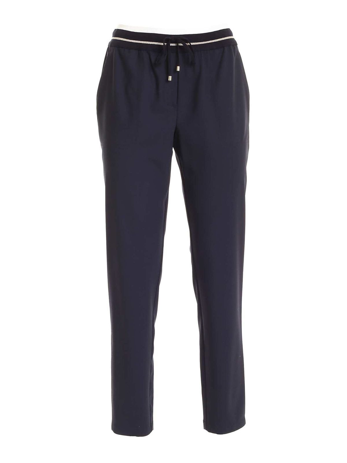 Lorena Antoniazzi KNIT DETAIL PANTS IN BLUE