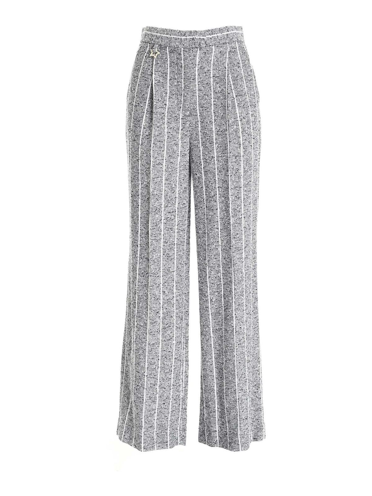Lorena Antoniazzi PINSTRIPE PATTERN PANTS IN BLUE AND WHITE