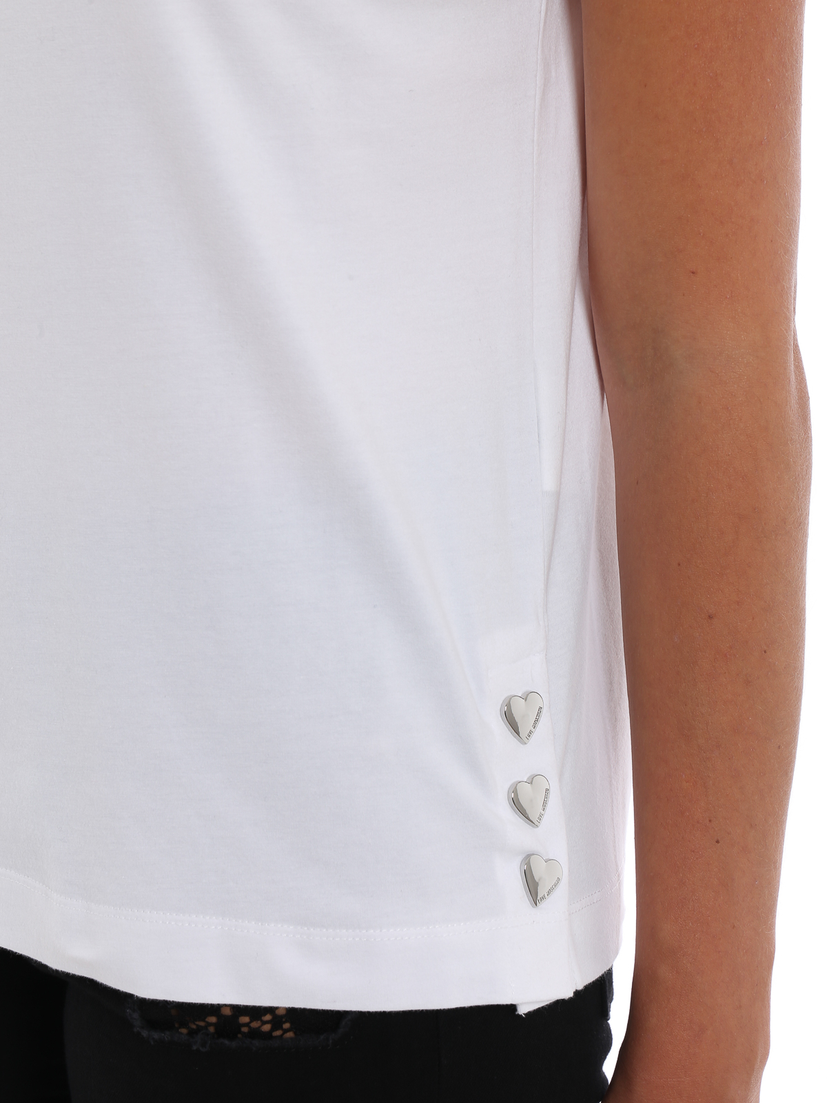 Love Moschino - T-shirt with heart shaped buttons - t-shirts