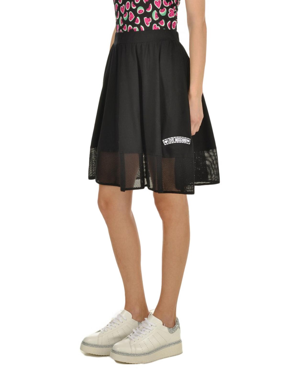 Mesh mini skirts online Mini Skirts Love Moschino Mesh Insert Cotton Mini Skirt W145280m3734c74