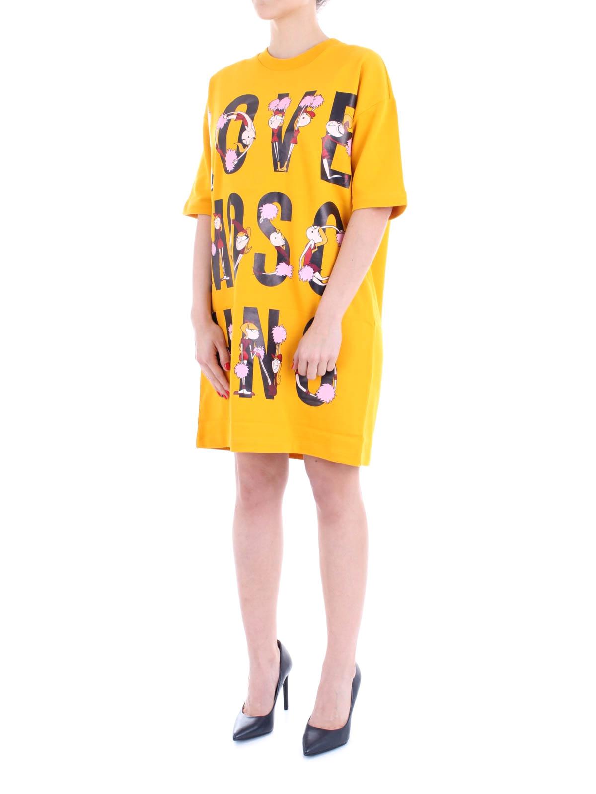 Cheerleader Moschino Stampa Abito Doll Love Con Abiti Corti PZXOiukT