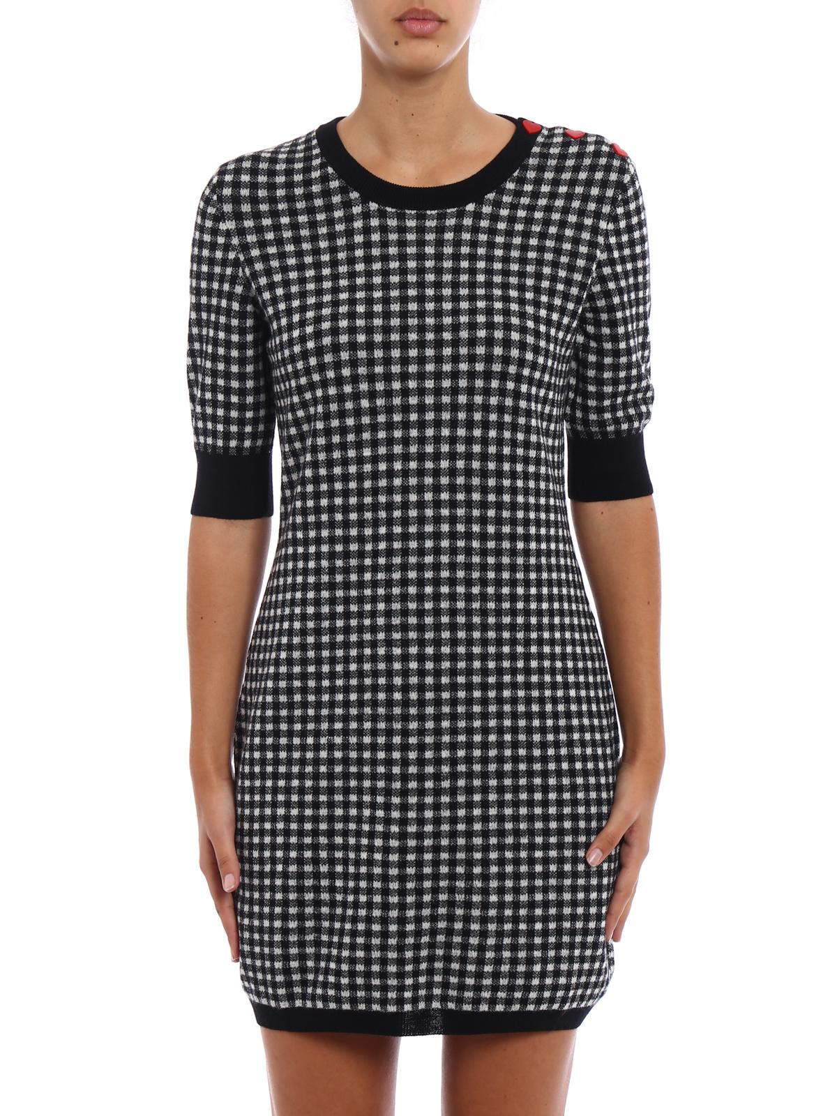 Love Moschino - Heart buttons vichy print dress - short