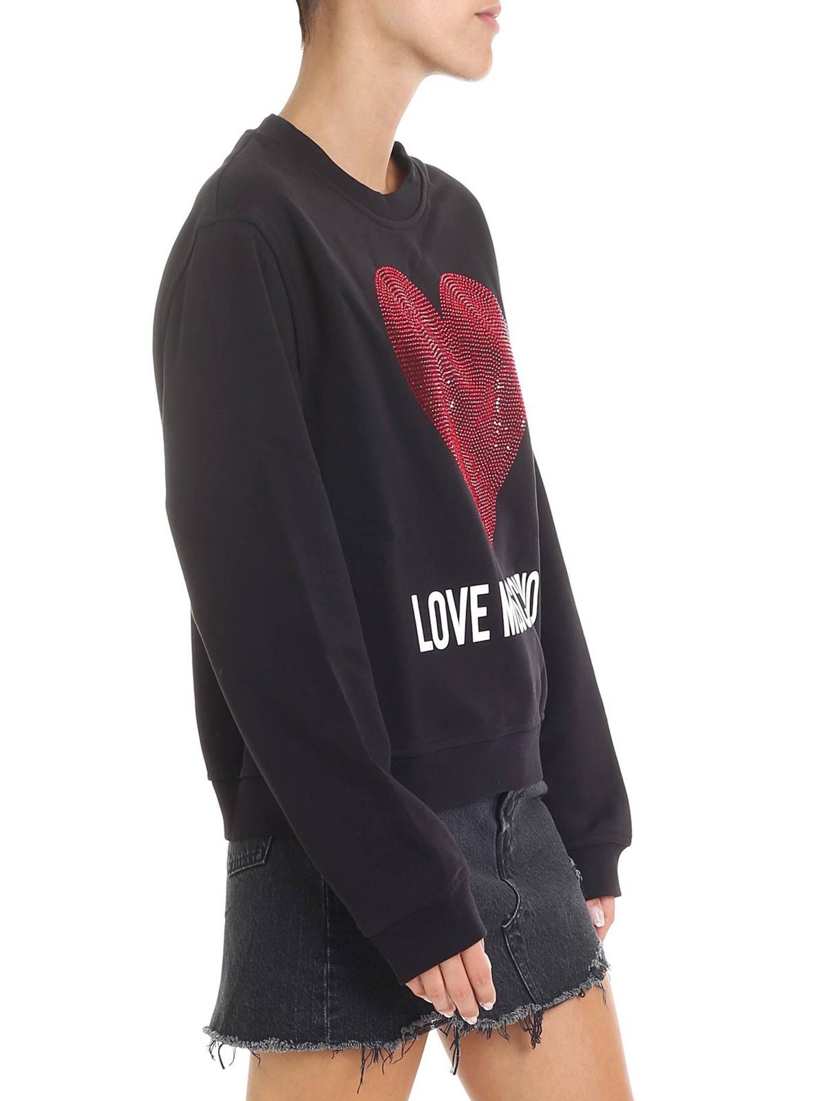 borse moschino love, moschino felpa in maglia di cotone con