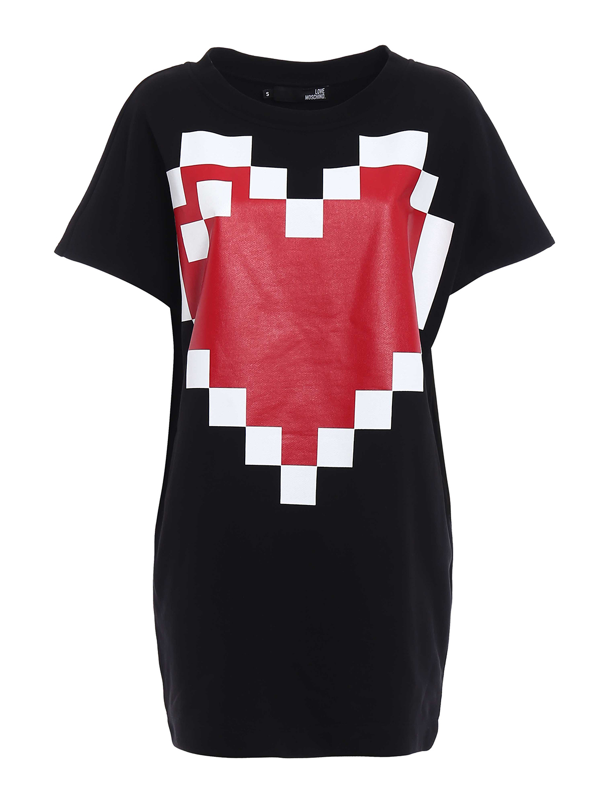 bf6fcd1ae97 Love Moschino - Maxi pixel heart sweat short dress - short dresses ...