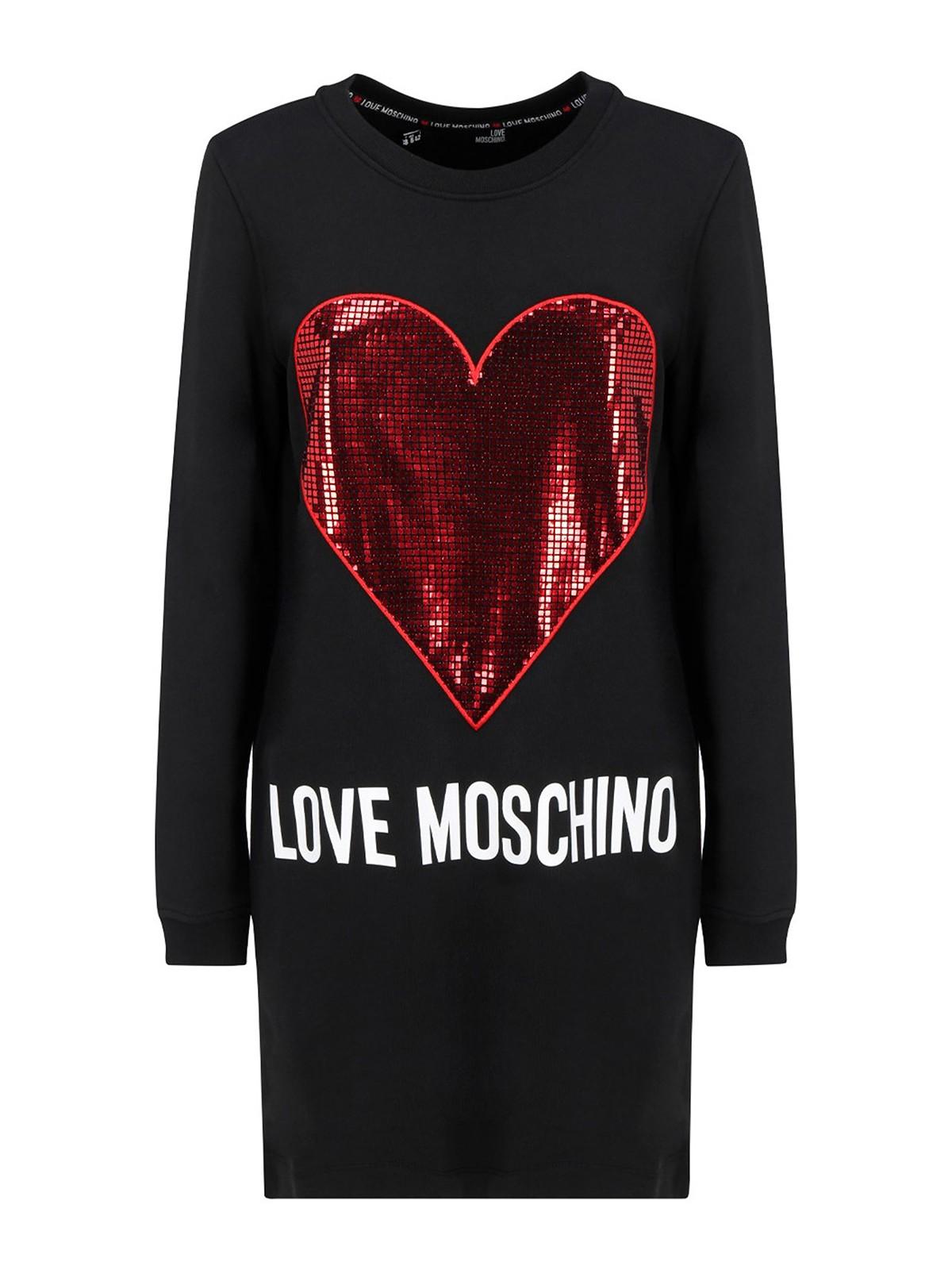 LOVE MOSCHINO SEQUINED MAXI HEART DRESS