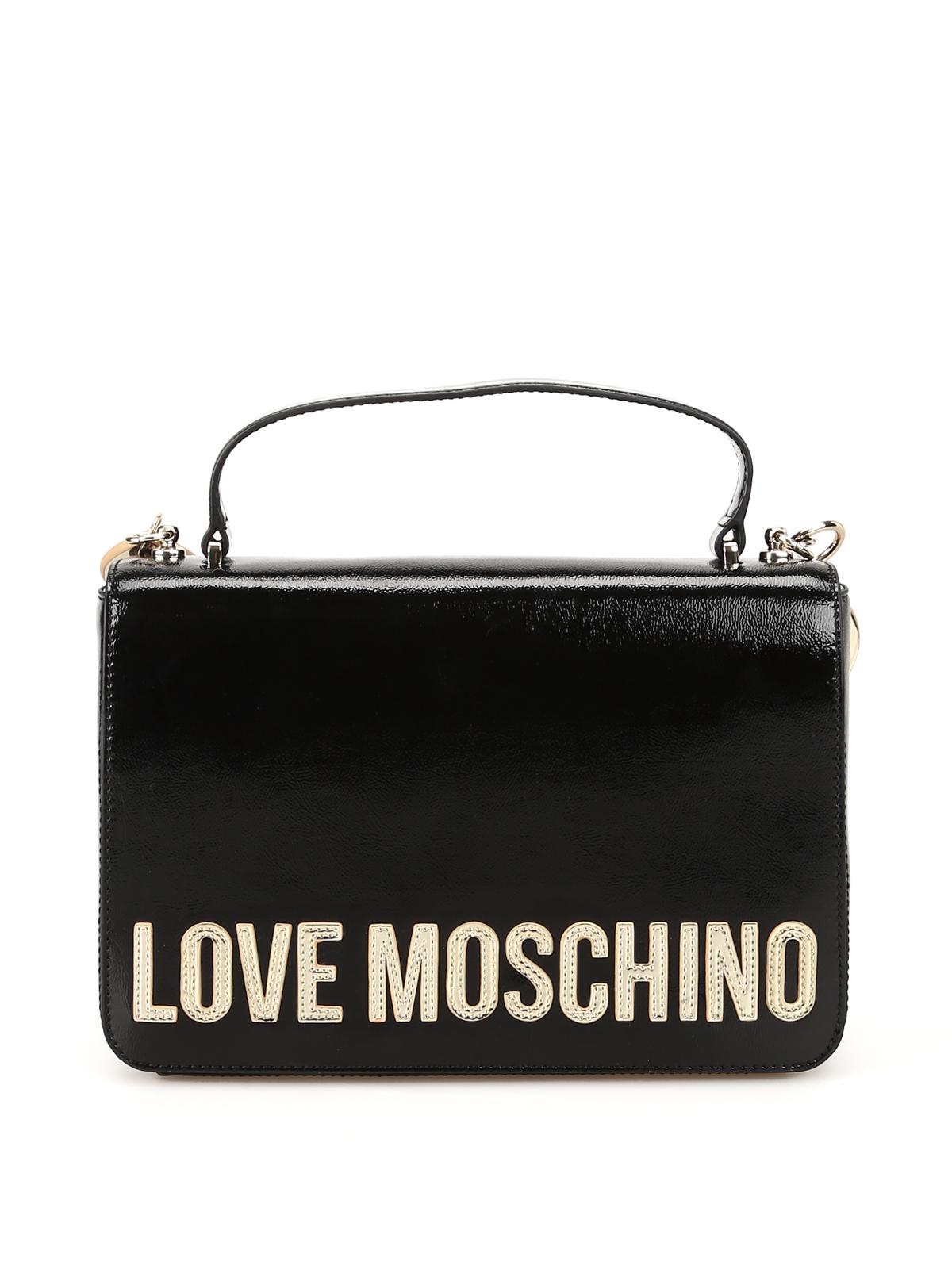Love Moschino Borsa in vernice con maxi logo applicato