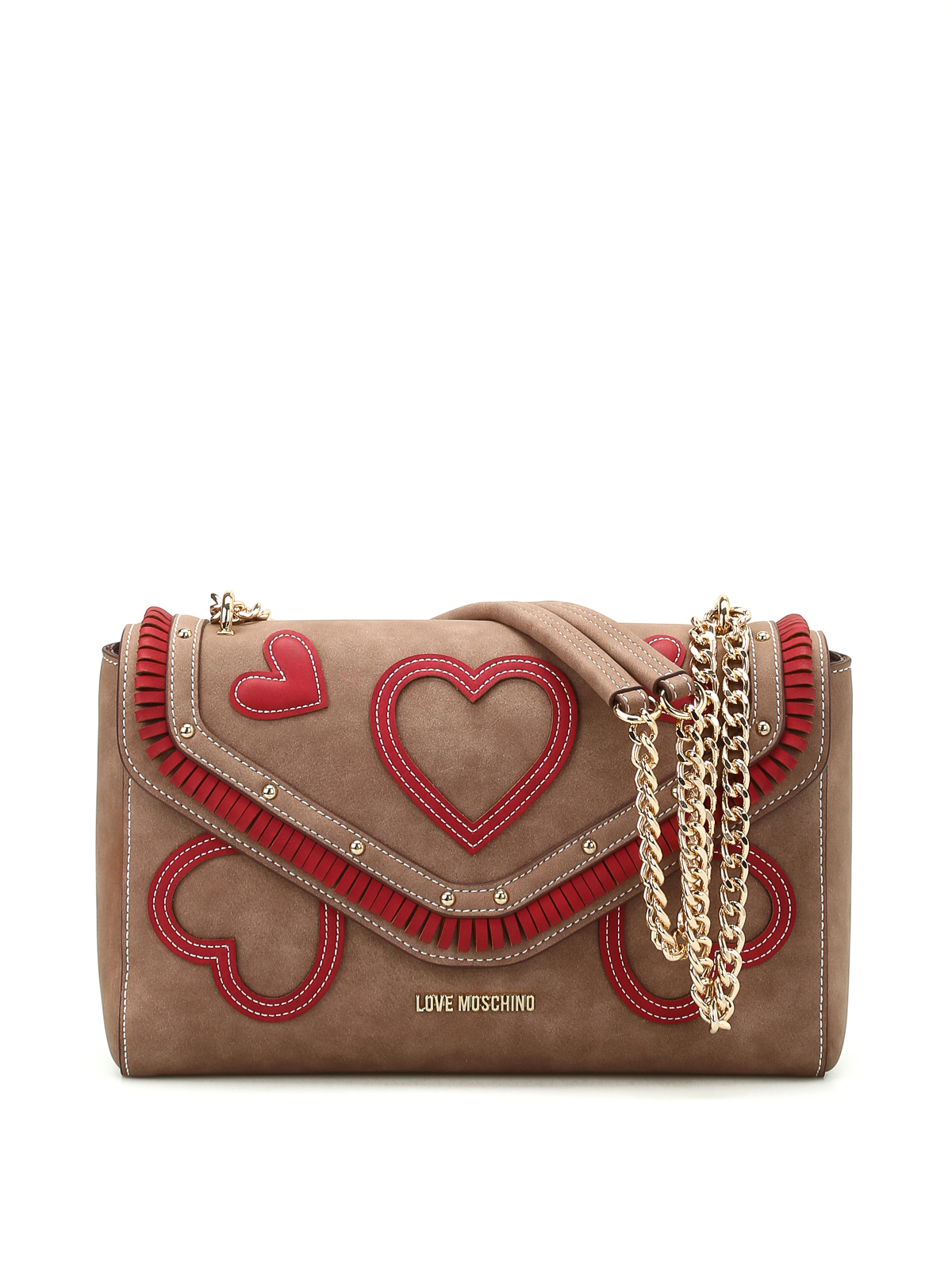 nubuck bag with hearts by love moschino shoulder bags. Black Bedroom Furniture Sets. Home Design Ideas