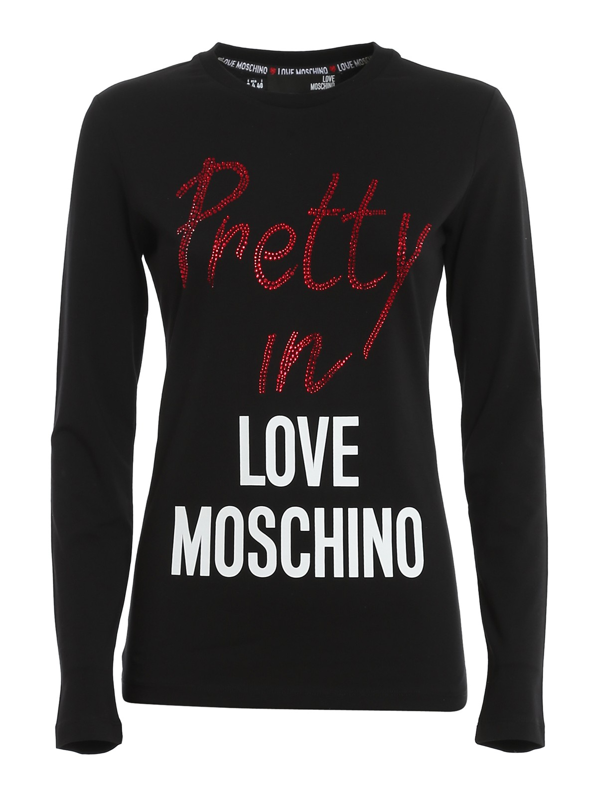 LOVE MOSCHINO PRETTY EMBELLISHED T-SHIRT
