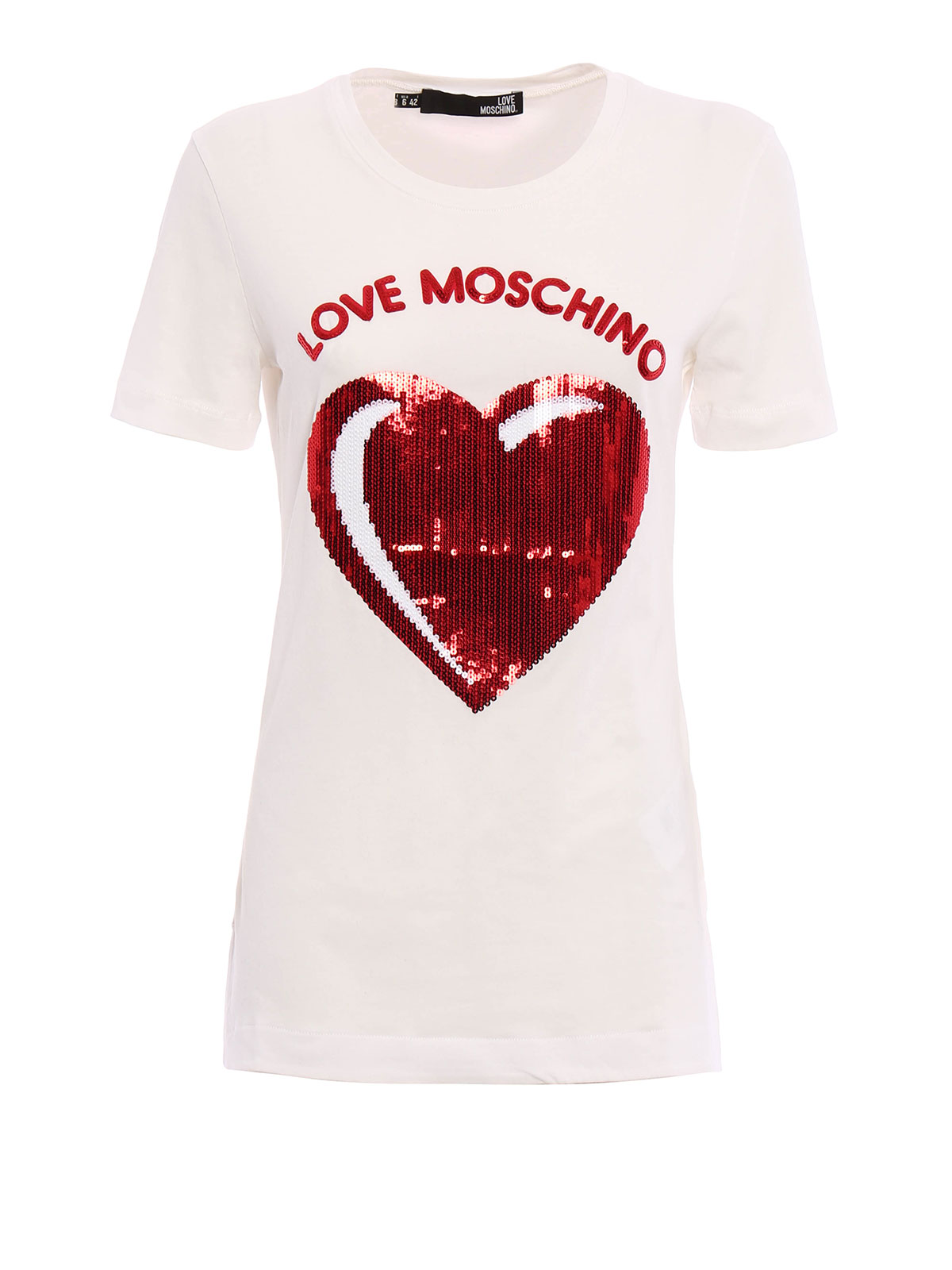 love moschino sequin logo t shirt t shirts. Black Bedroom Furniture Sets. Home Design Ideas