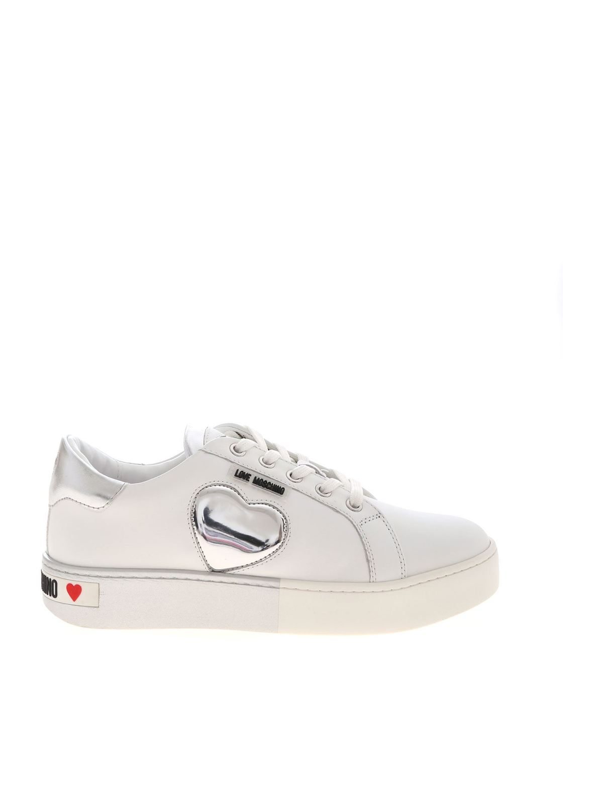 Love Moschino Platforms SNEAKERS IN WHITE AND SILVER