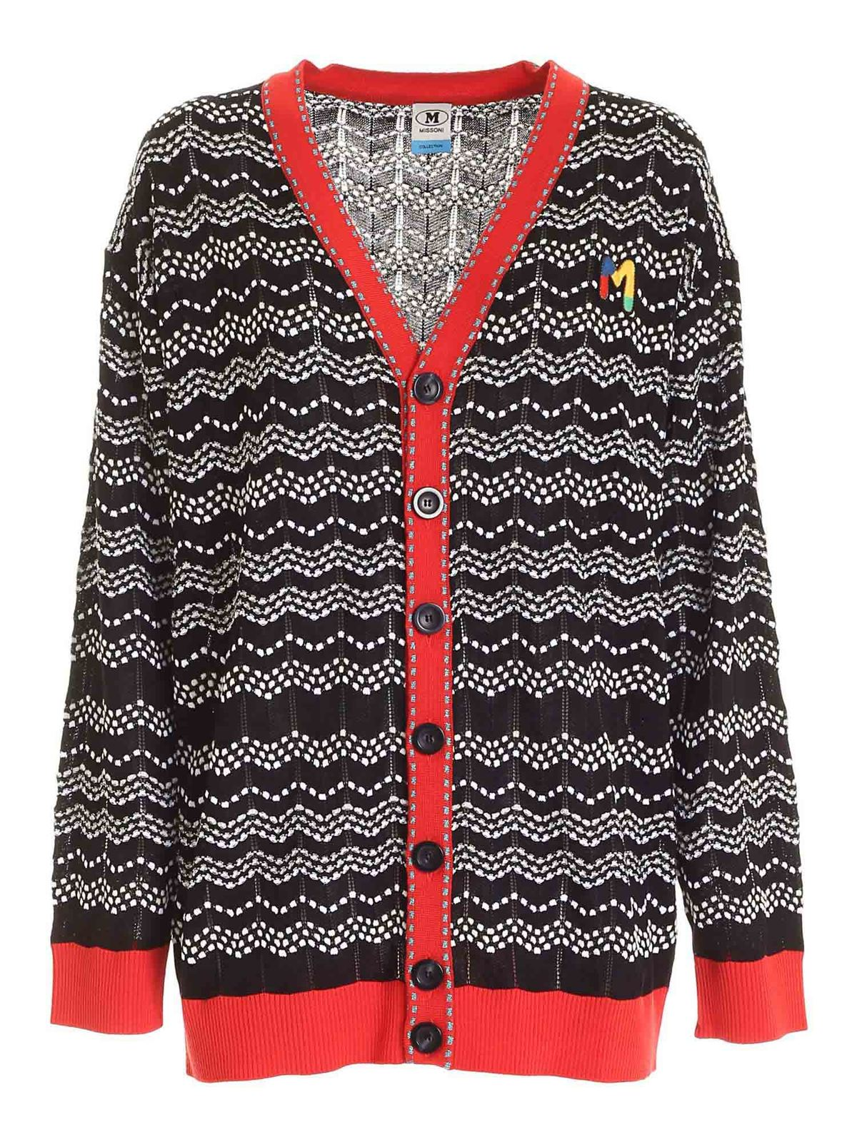 M Missoni LOGO PATCH CARDIGAN IN BLACK AND WHITE