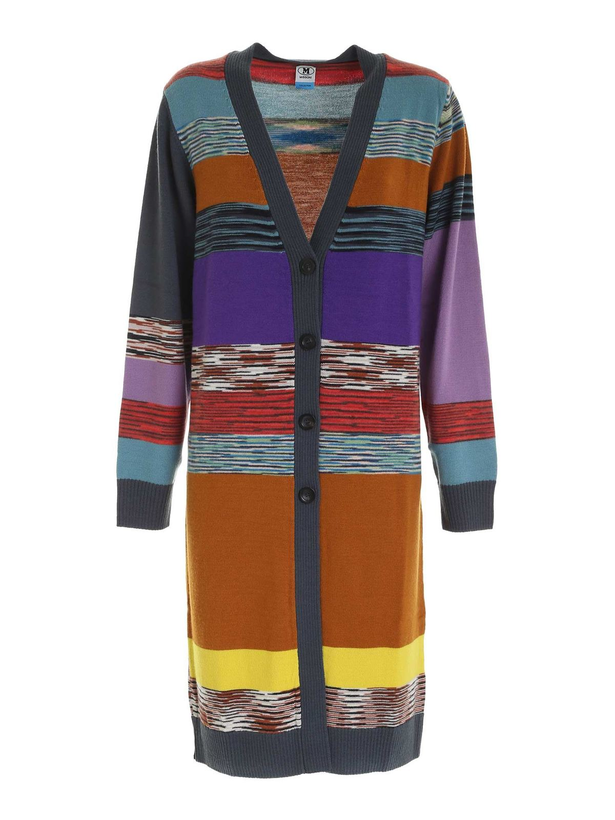 M Missoni STRIPED MULTICOLOR KNITTED CARDIGAN