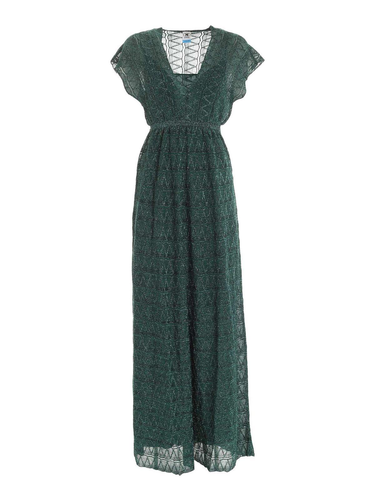 M Missoni LAME PATTERN DRESS IN GREEN