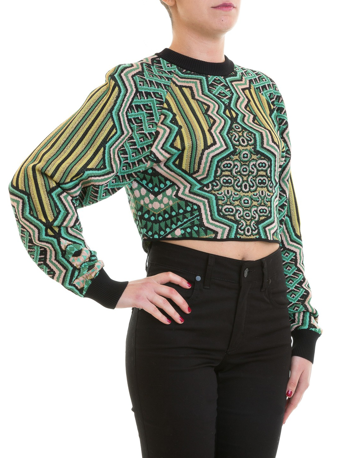7c2e50338fd7 M MISSONI  crew necks online - Green intarsia knit crop crew neck sweater