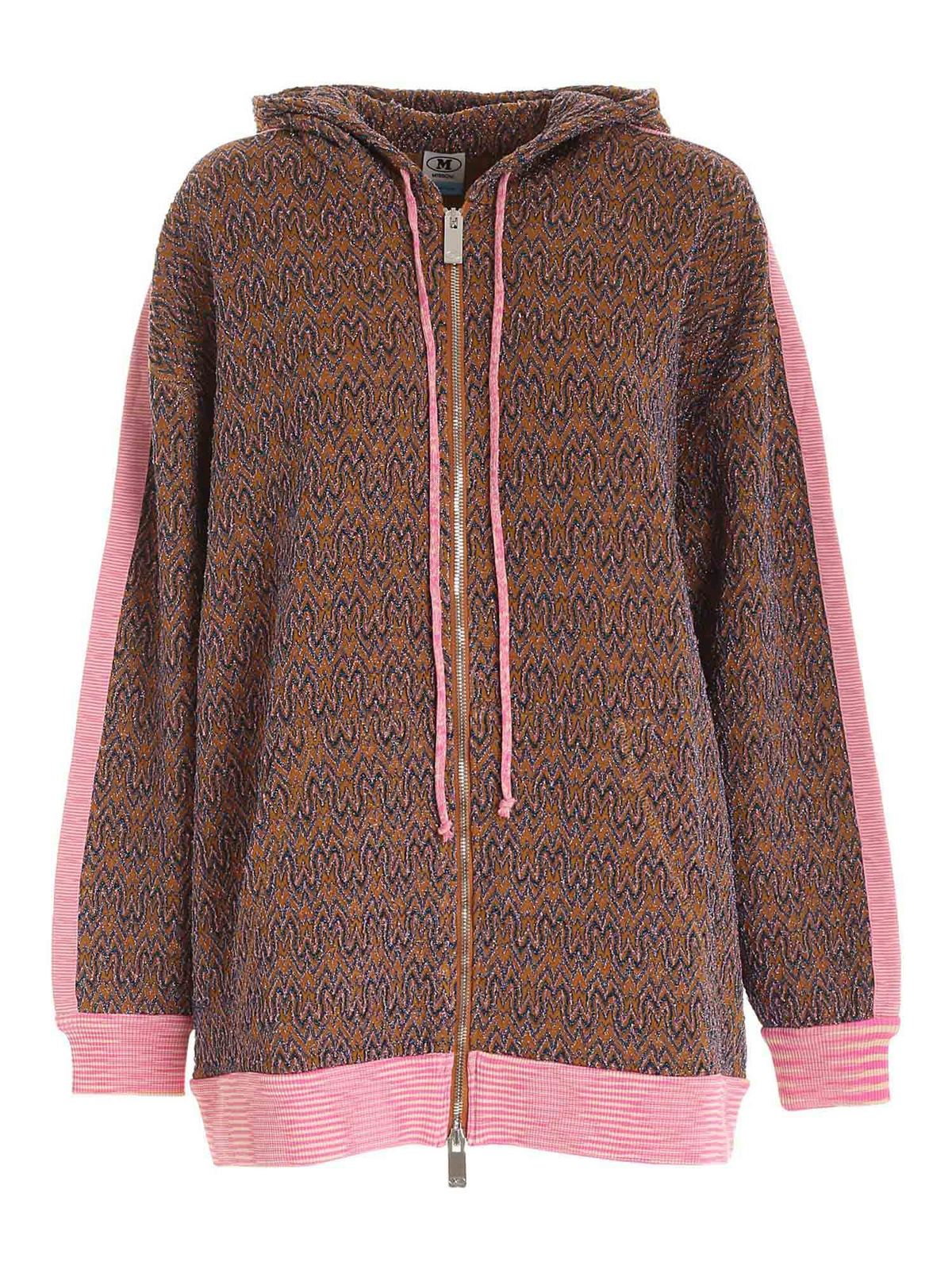 M Missoni LAME PATTERN SWEATSHIRT IN BROWN AND PINK