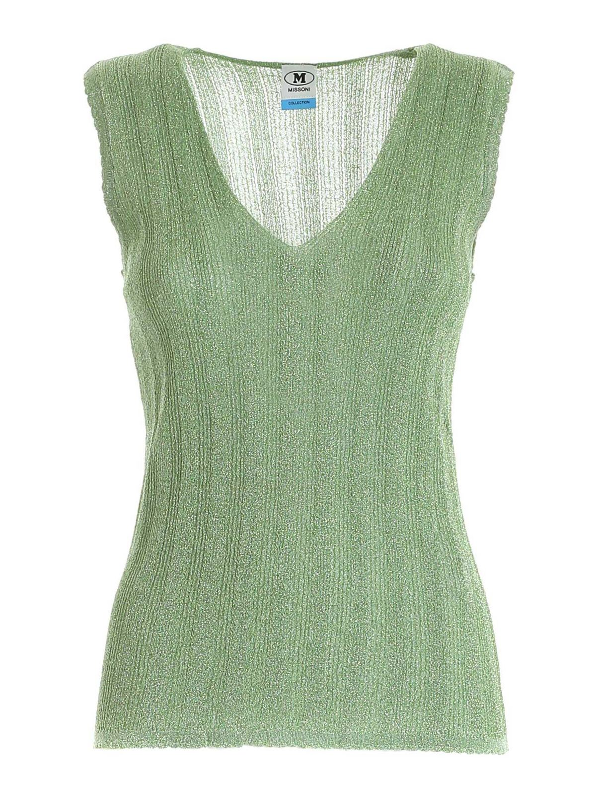 M Missoni LAME KNITTED TOP IN GREEN