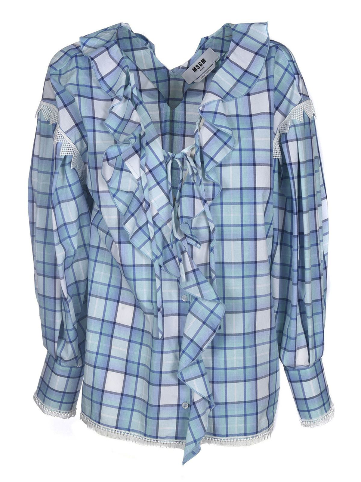 Msgm Cottons CHECKED PATTERN BLOUSE IN BLUE AND WHITE