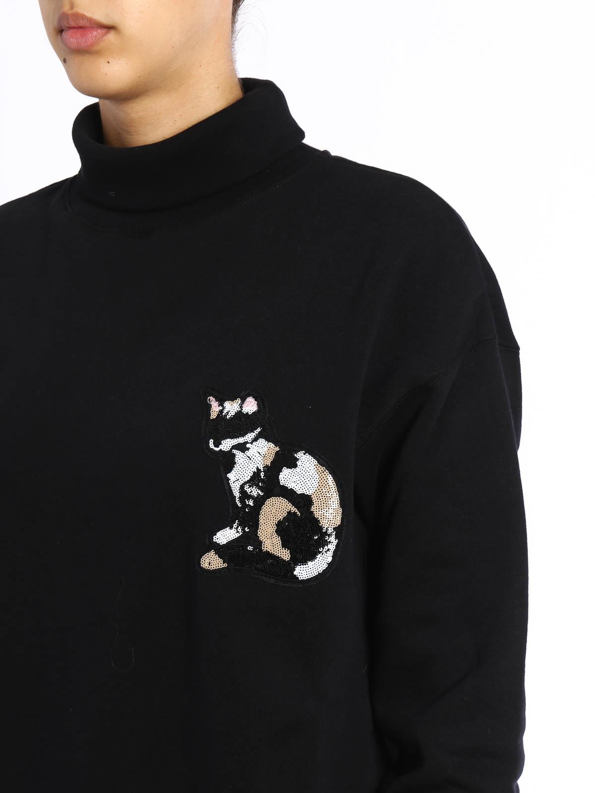 M s g m felpa a collo alto con gatto felpe e maglie for Felpa con marsupio porta gatto