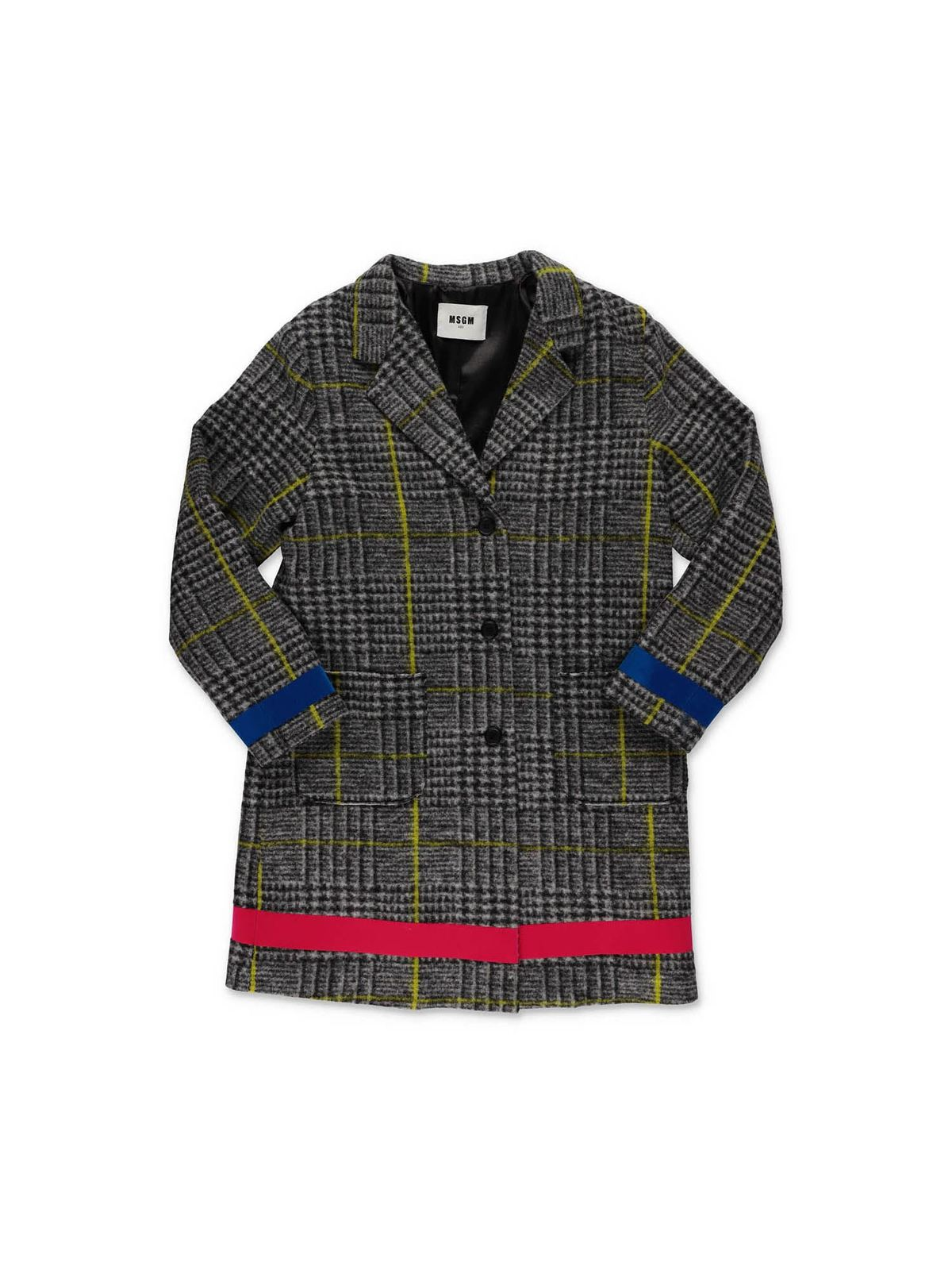 Msgm Linings GRAY HOUNDSTOOTH COAT