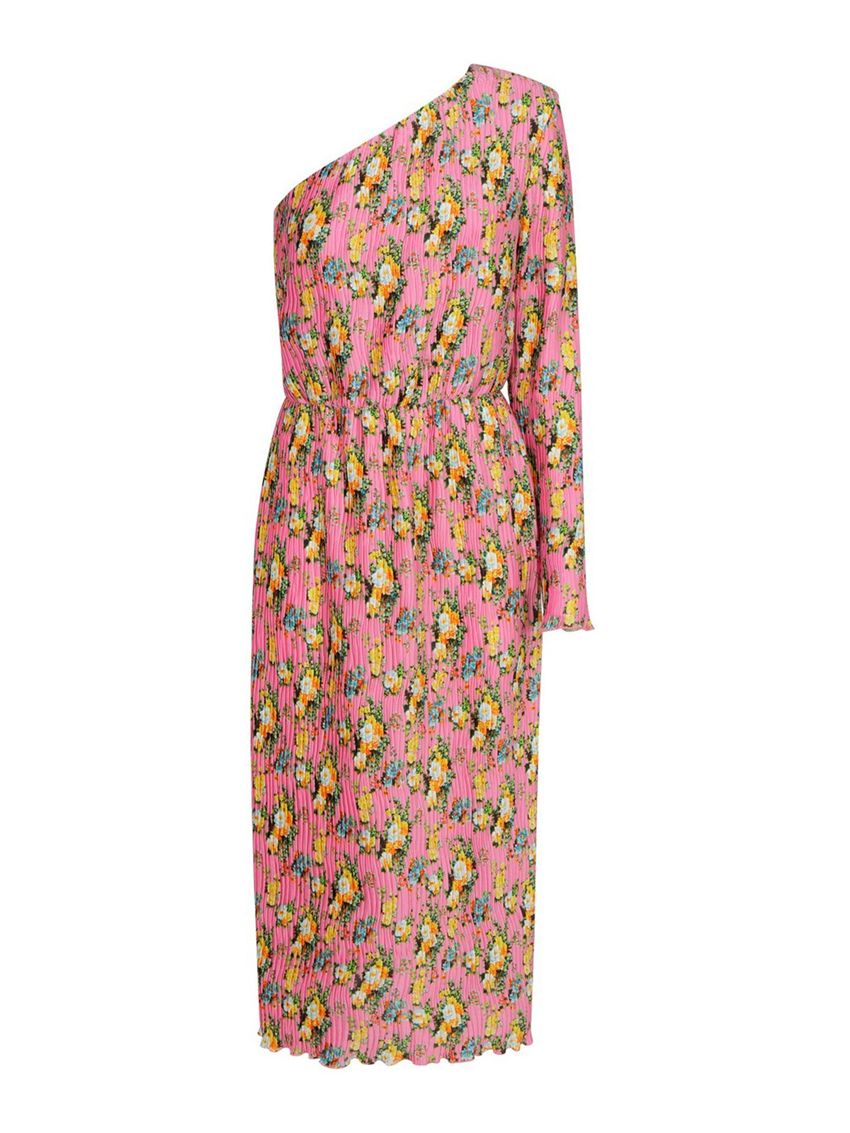 Msgm FLORAL PATTERNED ONE-SLEEVED DRESS