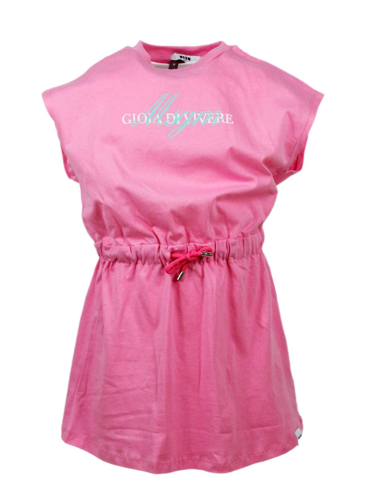 Msgm Cottons GIOIA DI VIVERE DRESS IN PINK