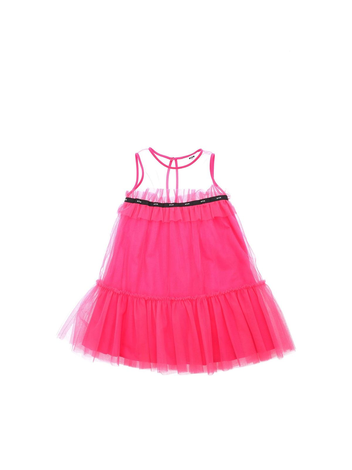Msgm Cottons LOGO DETAIL DRESS IN FUCHSIA