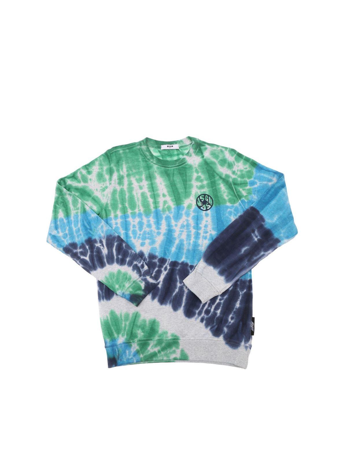 Msgm Sweatshirts TIE-DYE SWEATSHIRT IN GREY BLUE AND GREEN